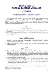 OBECNĚ ZÁVAZNÁ VYHLÁŠKA č. 10/2010 - Semily