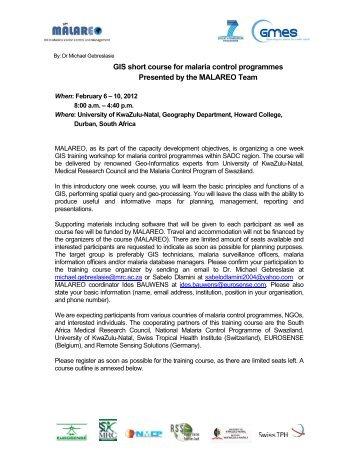 QGIS short course agenda - Malareo