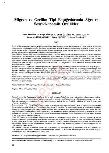 Migren ve Gerilim Tipi Başağrılarında Ağrı ve Sosyoekonomik ...