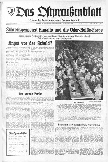foto de Folge 01 vom 05.01.1953 - Archiv Preussische Allgemeine Zeitung
