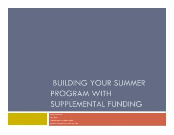 building your summer program with supplemental funding