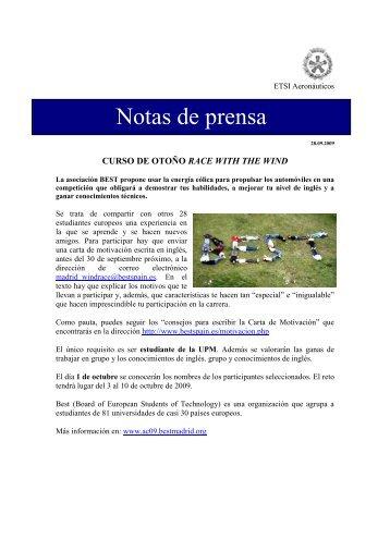 Curso de otoño Race with the wind - ETSIA