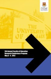 Conference Program - Faculty of Education - University of Calgary
