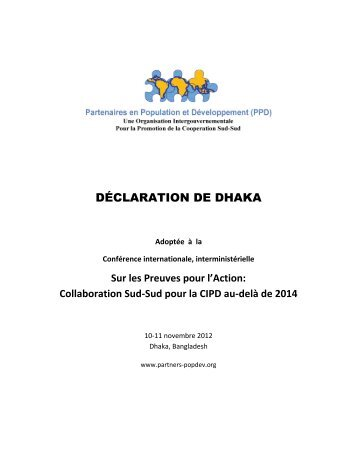 DÉCLARATION DE DHAKA - Partners in Population and Development