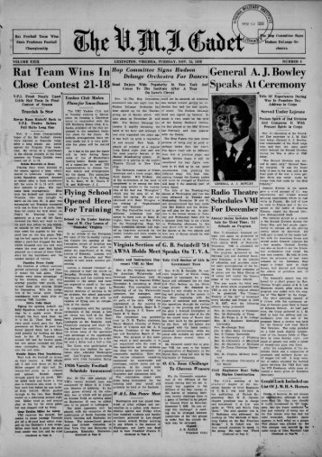 The Cadet. VMI Newspaper. November 12, 1935 - New Page 1 ...
