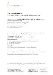 spezialangebote für ihren jahresendanlass 2013 ... - Balance Hotels