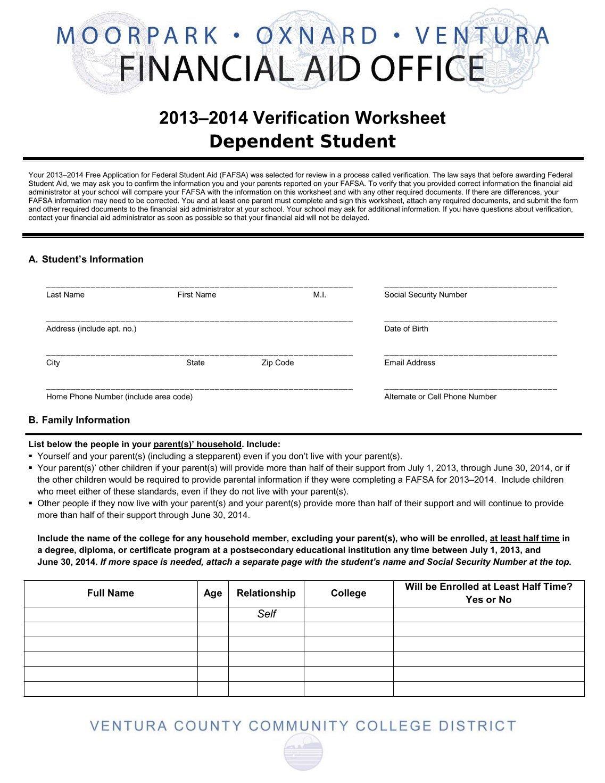 Worksheets Verification Worksheet Dependent Student 20 free magazines from vcccd edu edu