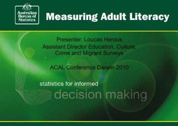 See the presentation - Australian Council for Adult Literacy