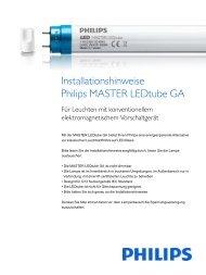 Hersteller Installationsanleitung Philips Master LED Tube ... - LEDS.de