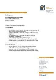 Ihr Weg zu uns Quasar Marketing Services GmbH Hanns-Schwindt ...