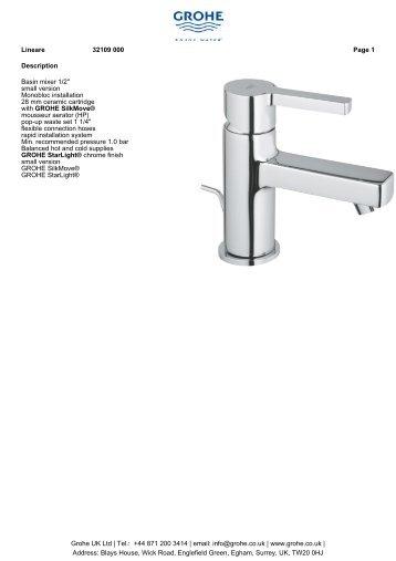 """Description Basin mixer 1/2"""" small version Monobloc ... - GROHE"""