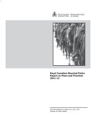 Royal Canadian Mounted Police's Report on Plans and Priorities