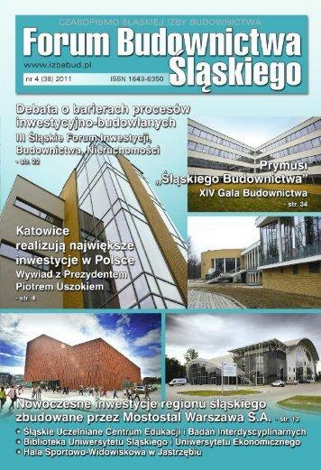 FORUM BUDOWNICTWA ŚLĄSKIEGO nr 1 (39) 2012 - śląska izba budownictwa