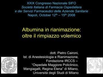 Albumina in rianimazione: oltre il rimpiazzo volemico - Sifo