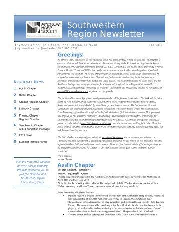 Southwestern Region Newsletter - American Harp Society