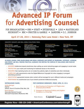 Advanced IP Forum for Advertising Counsel - IP In Brief