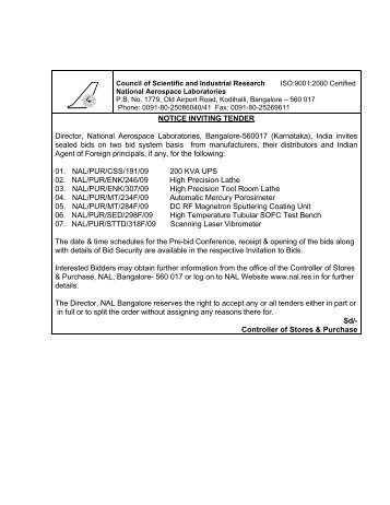 NOTICE INVITING TENDER Director, National Aerospace ...