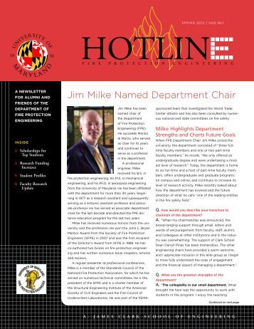 Spring 2012 - University of Maryland fire protection engineering ...