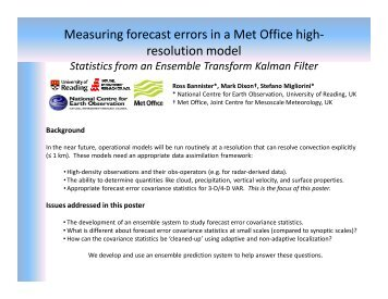 Measuring forecast errors in a Met Office high- resolution model