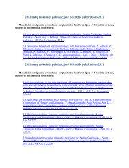 2012 metų mokslinės publikacijos / Scientific publications 2012 ...