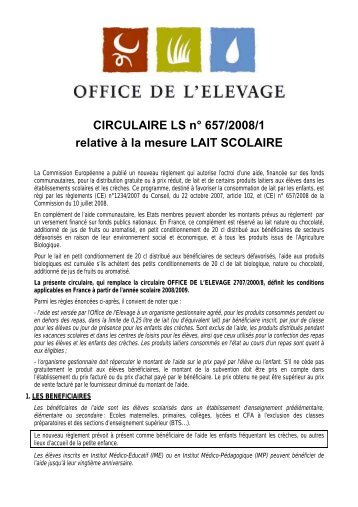 CIRCULAIRE LS n° 657/2008/1 relative à la mesure LAIT SCOLAIRE