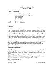 Daniel Peter Huttenlocher January, 2008 Contact Information ...