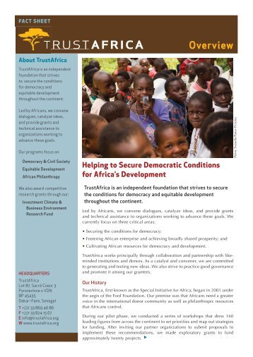 TrustAfrica: fact sheets