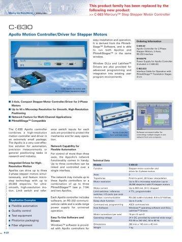 (PDF); Apollo Motion Controller/Driver for Stepper Motors