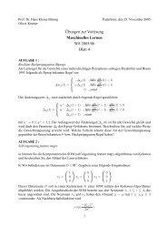 Übungen zur Vorlesung Maschinelles Lernen WS 2005/06 Blatt 4