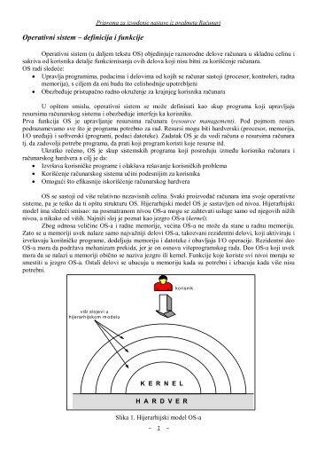 """Operativni sistemi (podela) - """"Mihajlo Pupin"""" Kula"""