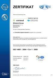 Zertifikat für das Umweltmanagement nach ISO ... - Wieland Electric