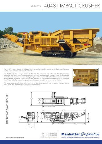 4043T Impact Crusher - Key Features.indd - Manhattan Corporation