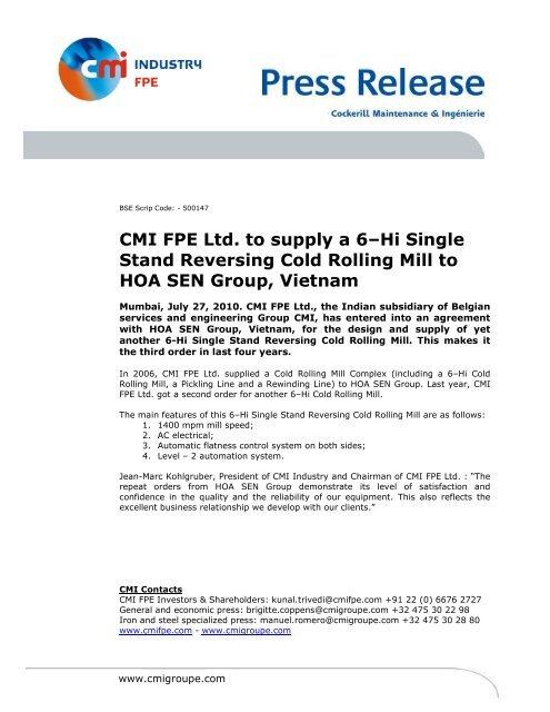 CMI FPE Ltd  to supply a 6–Hi Single Stand Reversing Cold