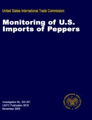 Monitoring of U.S. Imports of Peppers 2005 - USITC