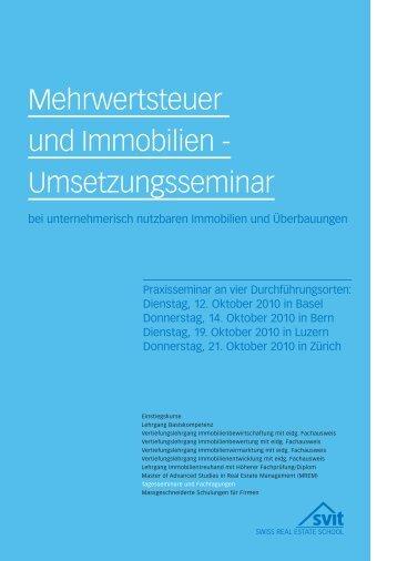Mehrwertsteuer und Immobilien - Umsetzungsseminar