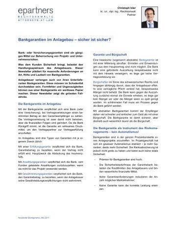 Bankgarantien im Anlagebau - epartners Rechtsanwälte