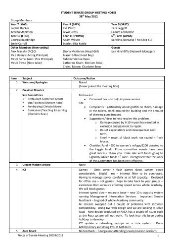 Minutes of the Senate Meeting on 28th May 2012 - Corby Business ...