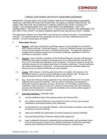 Code Signing Subscriber Agreement - Comodo