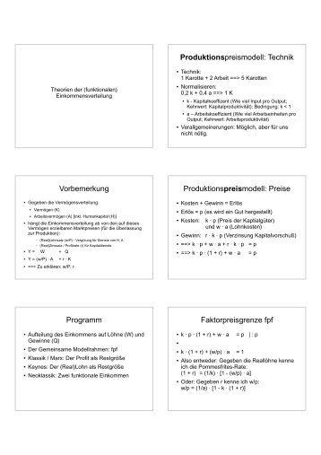 Vorbemerkung Programm Produktionspreismodell: Technik - Karl Betz
