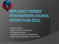 WPA Early Career Psychiatrists Council Action Plan 2011 - World ...