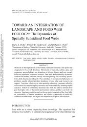 TOWARD AN INTEGRATION OF LANDSCAPE AND FOOD WEB ...