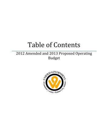 Table of Contents - Unified Government of Wyandotte County ...