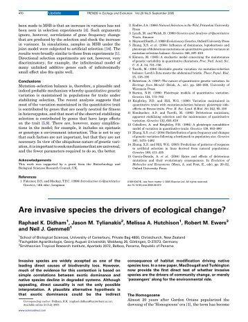 Are invasive species the drivers of ecological change?