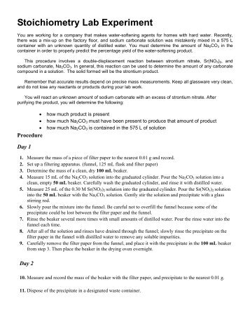stochiometry lab Stoichiometry challenge 3 student lab procedure, data collections and questions procedure: 1 write out a balanced equation for the reaction of calcium chloride (cacl.