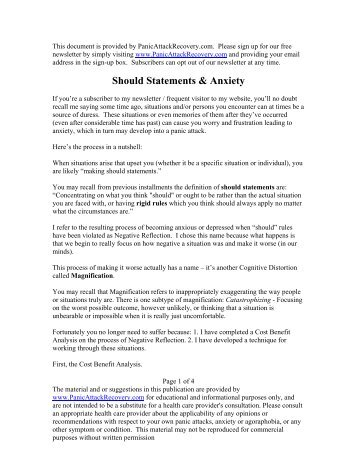 Should Statements & Anxiety - Help & Recovery for Panic Attacks