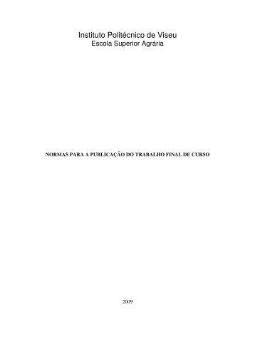 Normas para a publicação do Trabalho Final de Curso