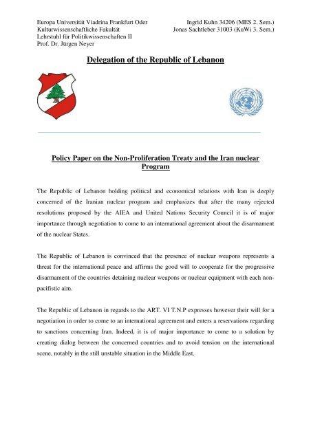 Delegation of the Republic of Lebanon - ViaMUN