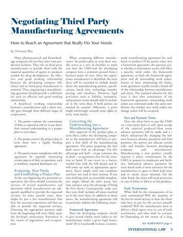 Negotiating Third Party Manufacturing Agreements - Vischer