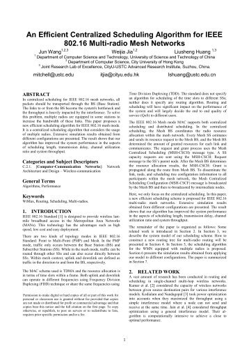 An Efficient Centralized Scheduling Algorithm for IEEE 802.16 Multi ...