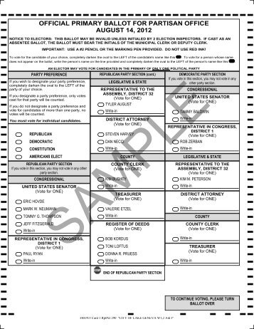 official primary ballot for partisan office august 14, 2012